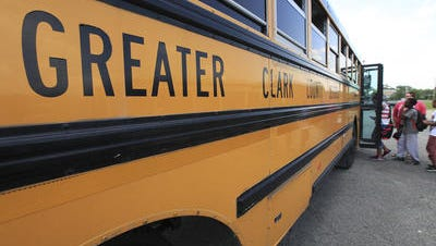A Greater Clark County school bus picks up students.