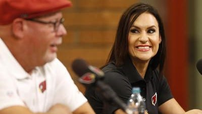 Dr. Jen Welter is introduced during a press conference at the team's training facility in Tempe July 28, 2015. She is the first female coach in the NFL and will be a Cardinals coaching intern for training camp and the preseason.