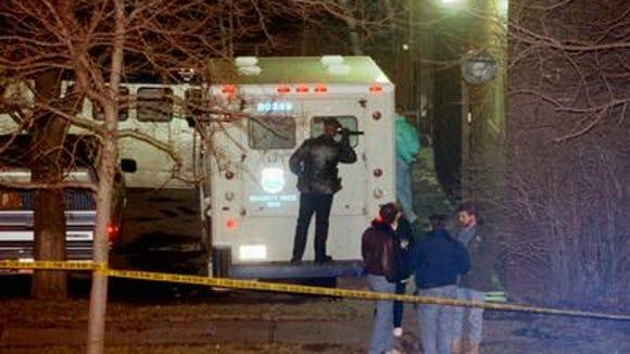 Police investigate Jan. 5, 1993 Brinks robbery.