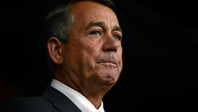 House Speaker John Boehner announces his resignation during a press conference on Capitol Hill September 25, 2015 in Washington, DC. After 25 years in Congress and five years as Speaker, Boehner said he decided this morning to step down after contemplation and prayer.