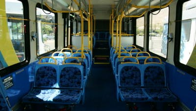 The interior of a SunLine Transit Agency bus.
