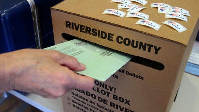 A Riverside County ballot box appears in this Desert Sun file photo.