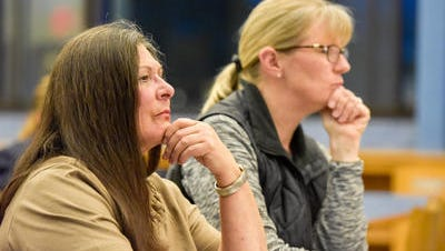 Musician and fundraiser Rosemary Conte (left) and music teacher Mally Metz (right) at Wednesday's Union Beach Memorial School Education Foundation meeting.