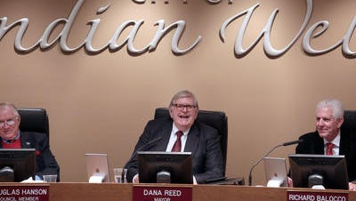 Indian Wells Mayor Dana Reed, center, and fellow City Council members will deliver the State of the City at 6 p.m. Thursday in the council chamber at City Hall.