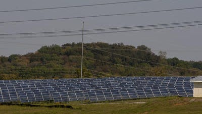 Arrays of solar panels owned by Silicon Ranch are seen in Pulaski, Tenn.