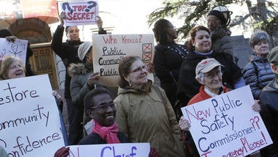 Members of the Westchester Coalition for Police Reform at a 2014 demonstration in White Plains.