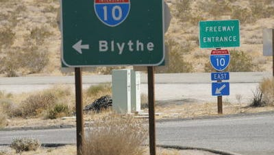 Interstate 10 is closed in Blythe due to a utility pole fire at Lovekin Boulevard. The road is expected to be closed until at least 10 a.m.