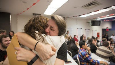 At last year's Match Day, two students at the University of Cincinnati's College of Medicine celebrate their match with medical residency programs.