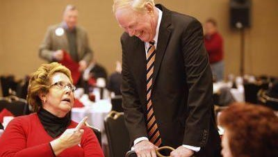 Former U of L Chief of Staff Kathleen Smith and former President James Ramsey