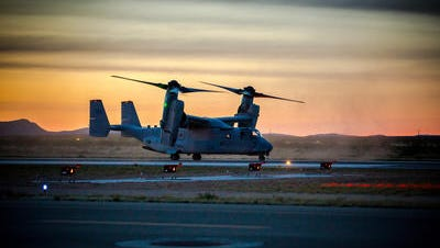 A U.S. Marine Corps Osprey, one of up to 8 Ospreys from from Marine Corps Air Station Yuma, in Yuma, Arizona, lands at Las Cruces Airport, April 6, 2016.