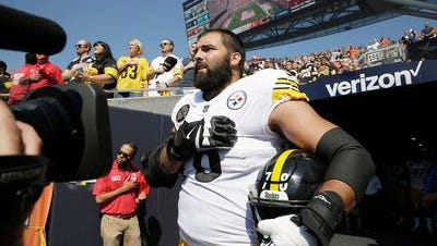 This image made Alejandro Villanueva a hero. But it was a  mistake and he has come to regret it.