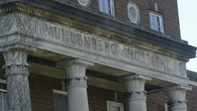 The facade of Muhlenberg Hospital in Plainfield in 2009. The hospital closed in 2008 after 131 years in operation.