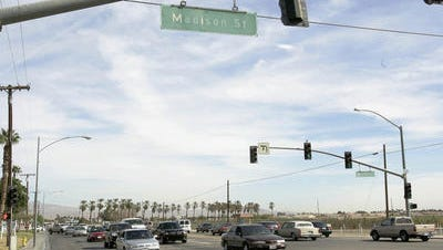 This Desert Sun file photo shows HIghway 111 at Madison Street in Indio. The intersection is the west end of a widening project that's scheduled to begin Tuesday.