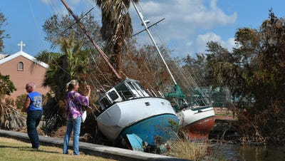 Boats smashed into the shore just south of St. Mark's Episcopal Church in Cocoa Village following Hurricane Irma last fall. Damage to boats, docks, trees, boat houses, and more along the Indian River in Cocoa and Rockledge.