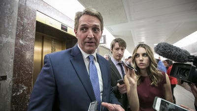 Sen. Jeff Flake, R-Ariz., spoke on Friday morning at an event in Manchester, New Hampshire.