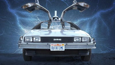 "The DeLorean gained fame as a time-travell machine in the ""Back to the Future"" movies."