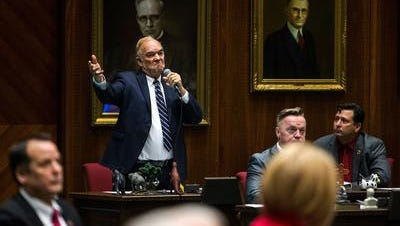 Rep. Don Shooter  speaks during vote on whether to remove him from office on Feb. 1, 2018, at the Arizona House.