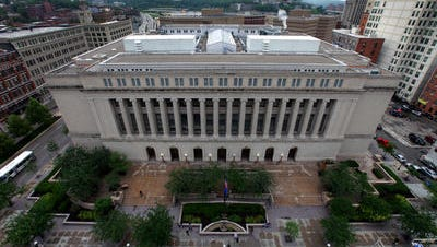 The Hamilton County Courthouse as seen from the roof of the Hamilton County Administration Building.