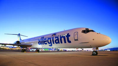 A commercial airliner operated by Allegiant Air.