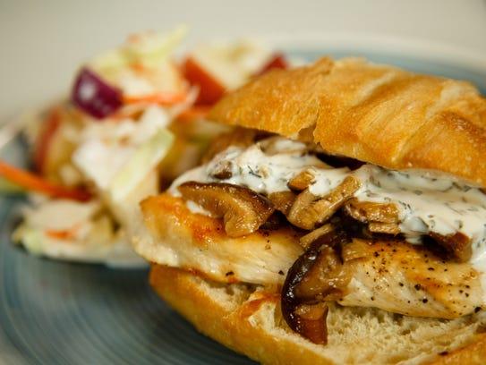 The finished Shitake Mushroom and Chicken Sandwich