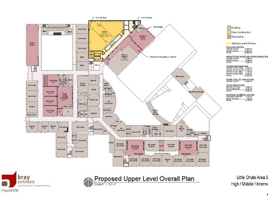 Proposed upper level floor plans for Little Chute Intermediate, Middle and High schools. The pink areas would undergo renovations, while the yellow spaces indicate new construction.