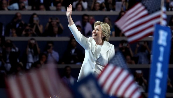 Hillary Clinton, seen here accepting her party's nomination