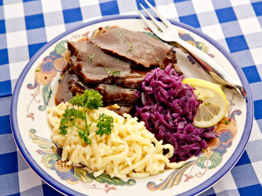 Traditional German sauerbraten with red cabbage is on the menu at Black Forest in Naples.