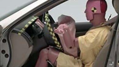 An air bag in a Honda during a crash test
