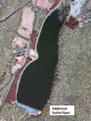 This map, presented by the Army Corps of Engineers in 2016, indicates where additional outlet pipes would be placed at the Orange Reservoir as part of a plan supported by the Mayors Council of the Rahway River Watershed.