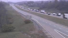 Authorities closed eastbound Interstate 275 at the Carroll Cropper Bridge along the Indiana and Kentucky state line after a semi truck reportedly lost its load on the roadway.