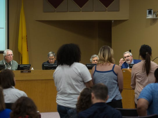 The Las Cruces Public Schools School Board listens to students from Las Cruces High School who want to build a memorial garden after one of their fellow students committed suicide this past year. Tuesday, April 17, 2018.