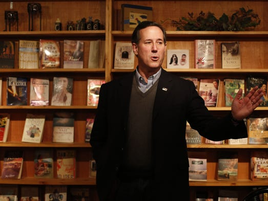 Republican presidential candidate Rick Santorum makes