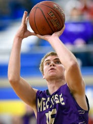 Melrose's Tyler Braegelman puts the ball in from outside