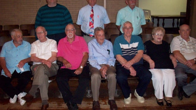 Honored class attendees at the 2018 Cumberland Alumni Banquet in the front row were Charles Roberts from the Class of 1953, Ralph West from the Class of 1948, James Snyder from the Class of 1963, Harry Bruner of the Class of 1953, John Sharrock of the Class of 1953, Virginia Paisley of the Class of 1958, and Dale Clappper of the Class of 1958. In the back row are John E. LePage, Jr. from MHS Class of 1978, Dale Eibel from MHS Class of 1973, and Stanley Wickham from MHS Class of 1968.