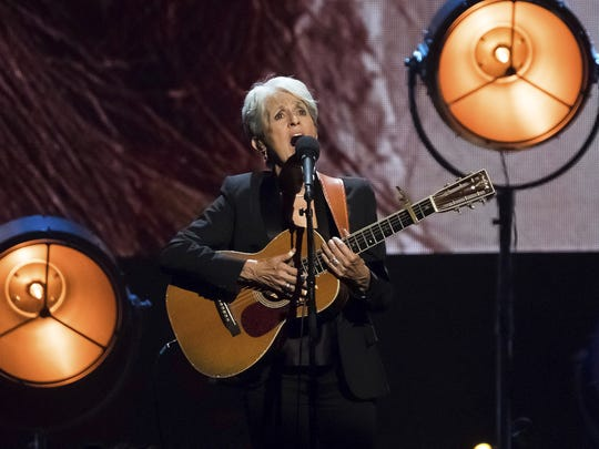 Joan Baez performs at the 2017 Rock & Roll Hall of Fame induction ceremony in April.
