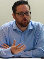Brandon Marley, who's seeking a seat on the Desert Recreation District board, responds to a question at The Desert Sun editorial board's interview on September 26, 2017.
