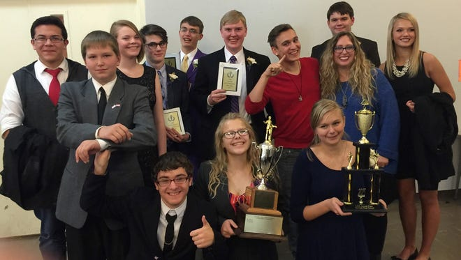 Members of the Norwalk Debate team, left to right, back row: Conlan Lingwall, Luke Peterson, Sydney Baugh, Noah Percy, Joe Oswald, Collin Kilgore, Nick McGee, Alex Johnson, Jenipher Sutherland (coach), Rachel Frescoln. Front row: Zac Palumbo-Garwood, Melinda Klawonn, Liah Moeller