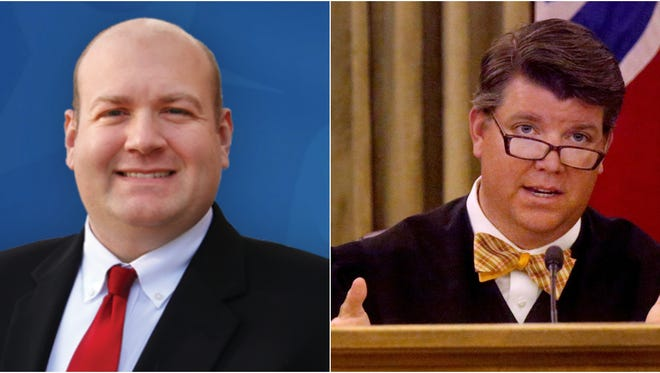 Nathan Nichols, left, is challenging Circuit Court Judge Barry Tidwell in the May 1 primary.