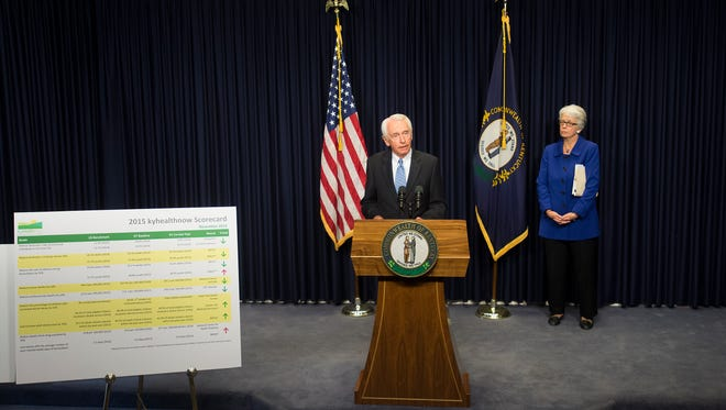 Gov. Steve Beshear and Lt. Gov. Crit Luallen host a press conference about the Kynect program at the state Capitol on Friday.