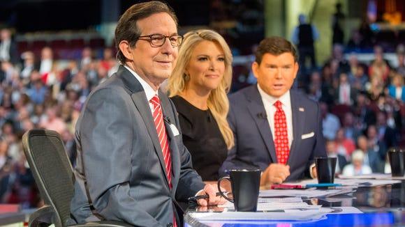 Fox News moderators, from left, Chris Wallace, Megyn