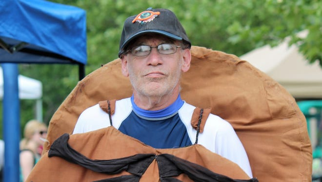 Joseph Francis knows a lot about Horseshoe crabs. He made his own horseshoe crab costume that he wears during the Horseshoe Crab Shorebird Festival in Milton.