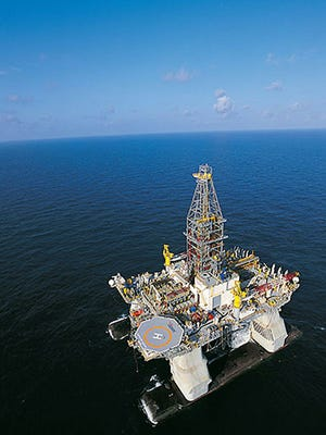 Handout image courtesy of Transocean shows the Ultra-Deepwater Semisubmersible Rig Horizon in the Gulf of Mexico.