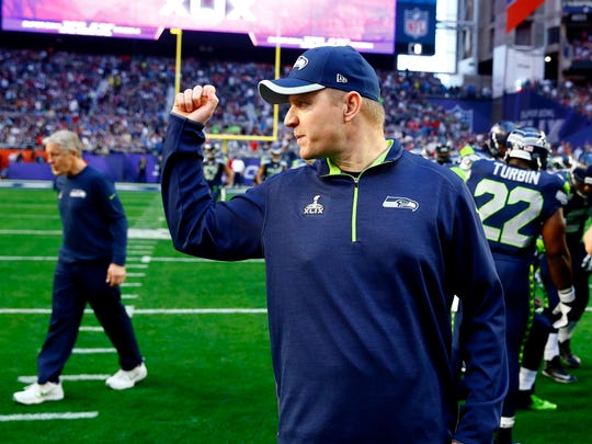 Feb 1, 2015; Glendale, AZ, USA; Seattle Seahawks offensive coordinator Darrell Bevell prior to the game against the New England Patriots in Super Bowl XLIX at University of Phoenix Stadium. Mandatory Credit: Mark J. Rebilas-USA TODAY Sports