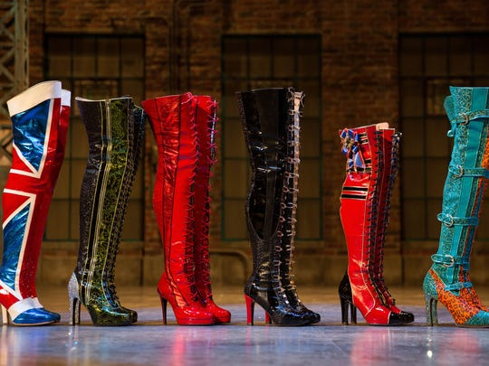"The boots from the national touring company of ""Kinky Boots."""