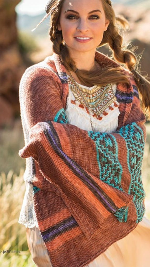 I love how this Santa Fe Wrap combines the traditional colors of the American Southwest into a knitted version of a Navajo blanket.