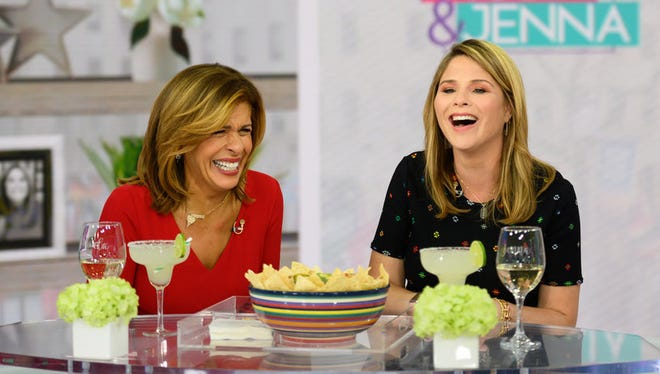 """Following Kathie Lee Gifford's exit on April 5, 2019, Jenna Bush Hager joined Kotb for a new iteration of the fourth hour of """"Today,"""" """"Today with Hoda & Jenna."""" The co-hosts shared a laugh on April 12."""