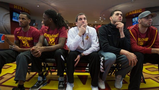 Iowa State Cyclones await their NCAA tournament selection at Hilton Coliseum in Ames , Sunday, March 13, 2016.