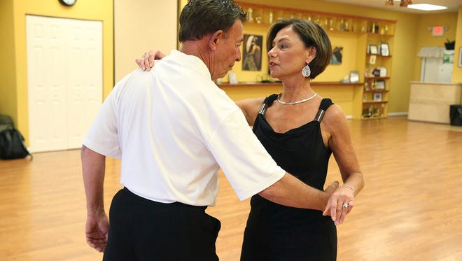 Robert Steiger, 65 of Egg Harbor Township and Mary Serpente, teacher and owner of Academy of Ballroom Dancing rehearsing for a Charleston, S.C., ballroom dancing competition.