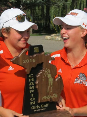 Heather Fortushniak (left) and Annie Pietila of Brighton shot 72s to finish in a four-way tie for first in the Jim Sander Memorial Tournament.
