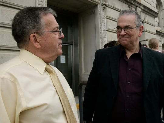 David Twombley, left, and Larry Hoch are pictured outside the Polk County Courthouse on May 3, 2007. Hoch, who along Twombley were among the plaintiffs in the Varnum vs. Brien case that challenged the constitutionality of Iowa's marriage law, died Saturday, Oct. 22, 2016, in his sleep at age 74.